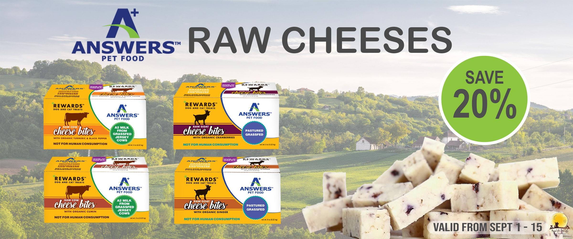 answers dog food, cheese